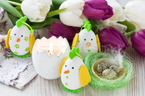 Stockfoto: Pasen · kip · ei · decoratie · kaars · tulp