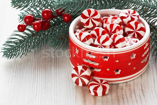 Menthe poivrée Noël bonbons sweet décoration baies Photo stock © IngridsI