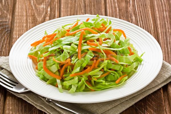 Stockfoto: Kool · wortel · salade · rustiek · houten · groene