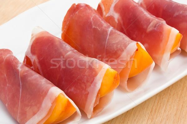 Stock photo: Peach in Prosciutto