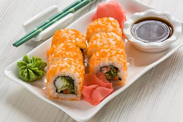 Sushi japans wasabi sojasaus gember Stockfoto © IngridsI