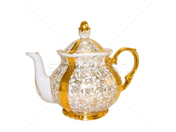 Arany porcelán teáskanna öreg antik szolgáltatás Stock fotó © IngridsI
