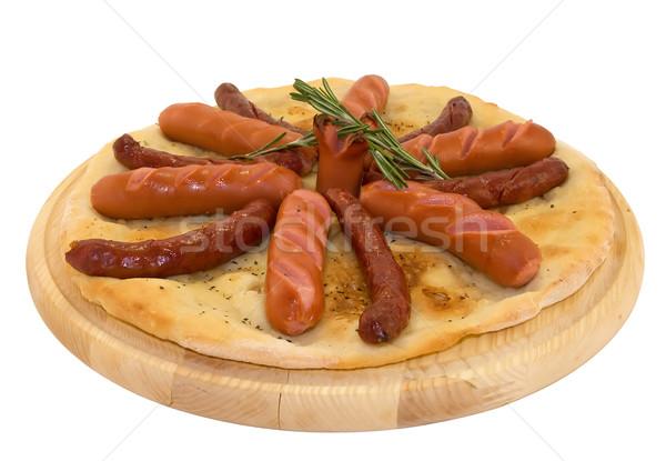 Grillezett forró kolbászok pita kenyér fehér Stock fotó © IngridsI
