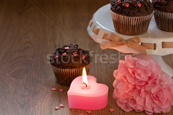 Romantikus szív gyertya Valentin nap csokoládé chip Stock fotó © IngridsI