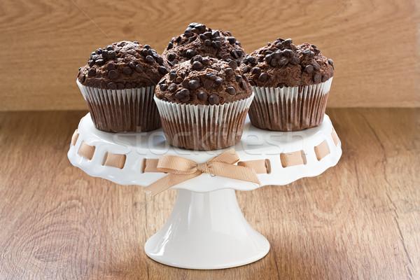 Chocolade chip muffins heerlijk zoete dessert Stockfoto © IngridsI