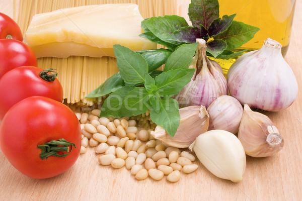 Olasz tészta alapvető hozzávalók főzés közelkép Stock fotó © IngridsI