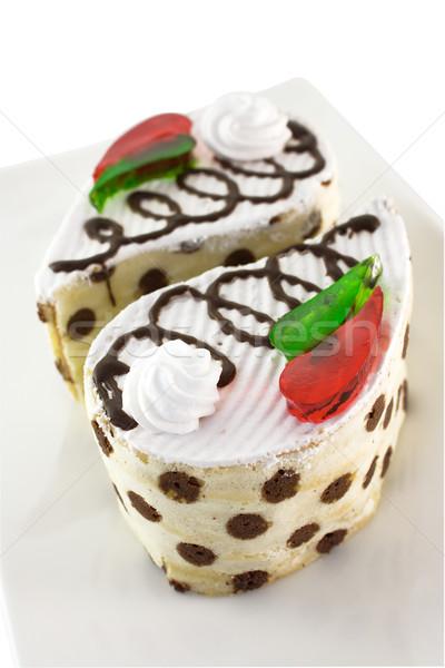 Cake gekleurd gelei spons slagroom stukken Stockfoto © IngridsI