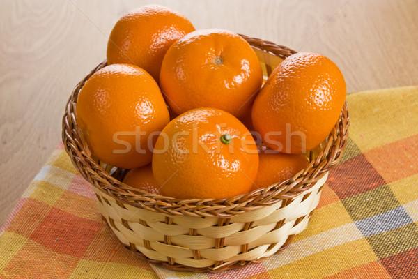 Fresche mandarino basket maturo legno Foto d'archivio © IngridsI