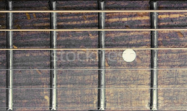 Stock Photo Close Up Of Acoustic Guitar Fretboard