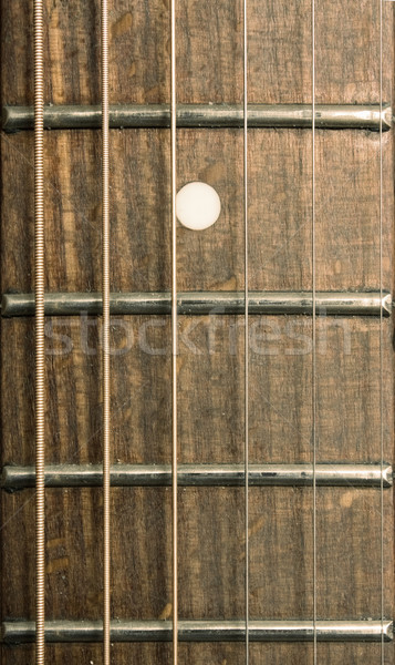 Close-up of acoustic guitar fretboard  Stock photo © inoj