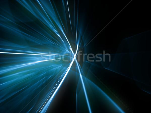 Absztrakt vonalak kék technológia űr fekete Stock fotó © inoj