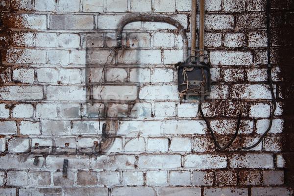 öreg téglafal építkezés fal háttér városi Stock fotó © inoj