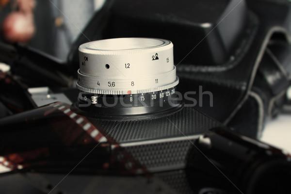 Stok fotoğraf: Eski · kamera · cam · sinema · siyah