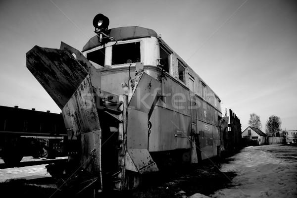 Locomotief technologie trein zwarte perspectief toerisme Stockfoto © inoj