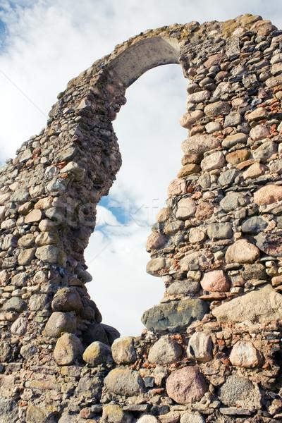 遺跡 城 壁 自然 ウィンドウ 石 ストックフォト © inoj