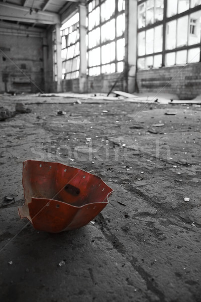 Abandoned Industrial interior with red object Stock photo © inoj