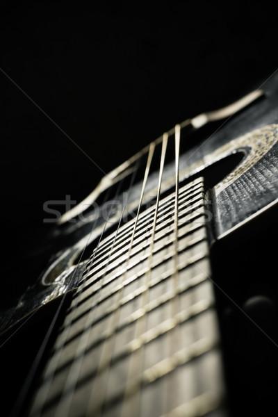 Stockfoto: Zwarte · akoestische · gitaar · lichaam · kunst · golf · kleur