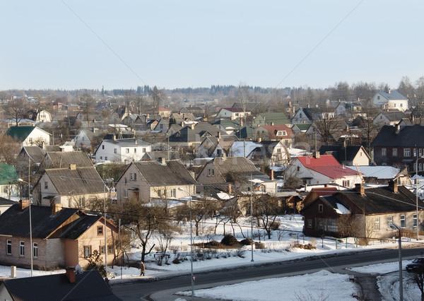 冬 小さな町 市 太陽 通り ホーム ストックフォト © inoj