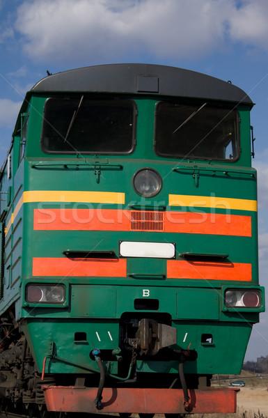 Locomotief landschap groene Rood corporate staal Stockfoto © inoj