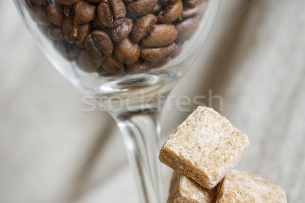 Kahve çekirdekleri şeker cam arka plan içmek enerji Stok fotoğraf © inoj