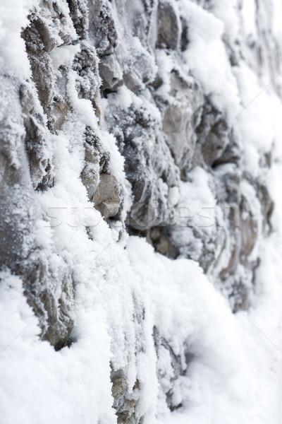 雪 岩 壁 デザイン 背景 美 ストックフォト © inoj