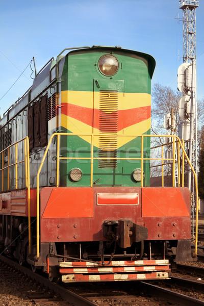 Lokomotif manzara yeşil kırmızı kurumsal çelik Stok fotoğraf © inoj