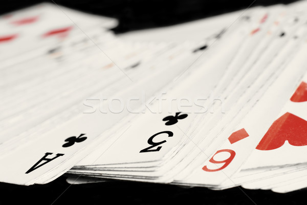 Close-up of old playing cards isolated on black  Stock photo © inoj