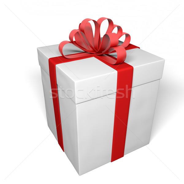 Ajándék doboz piros fehér ajándék szalag karácsony Stock fotó © inoj