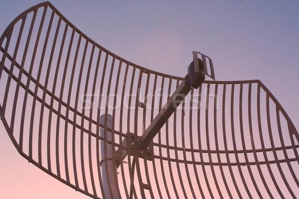 Сток-фото: антенна · компьютер · небе · дома · солнце · закат