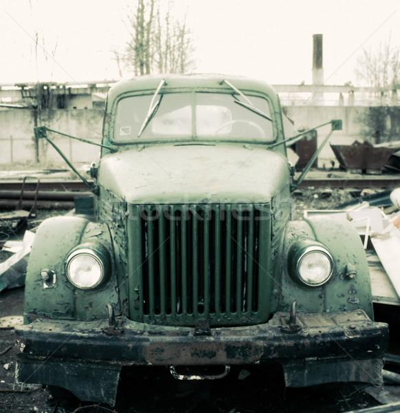 Eski kamyon gökyüzü araba dizayn siyah Stok fotoğraf © inoj