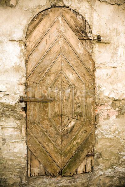 古い ドア 木材 建設 城 レンガ ストックフォト © inoj