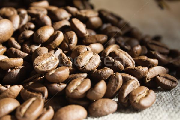 Kávé közelkép háttér szín makró magok Stock fotó © inoj