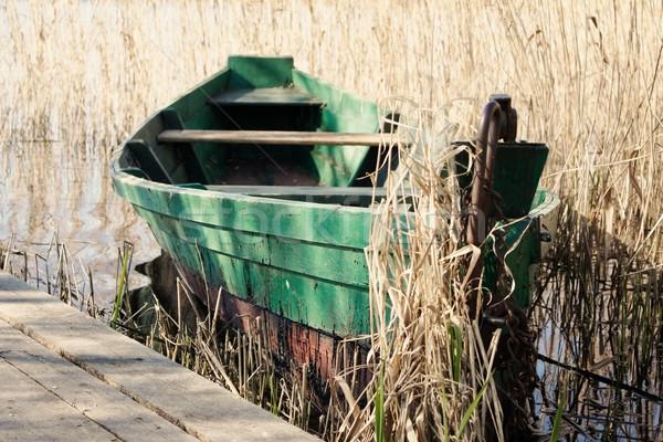 Zöld csónak víz tó folyó kenu Stock fotó © inoj