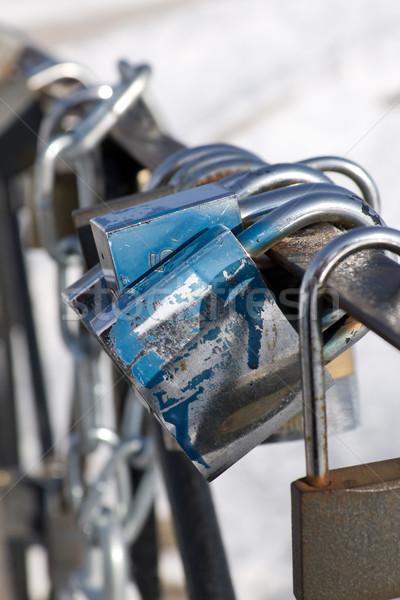 фон металл моста синий группа блокировка Сток-фото © inoj
