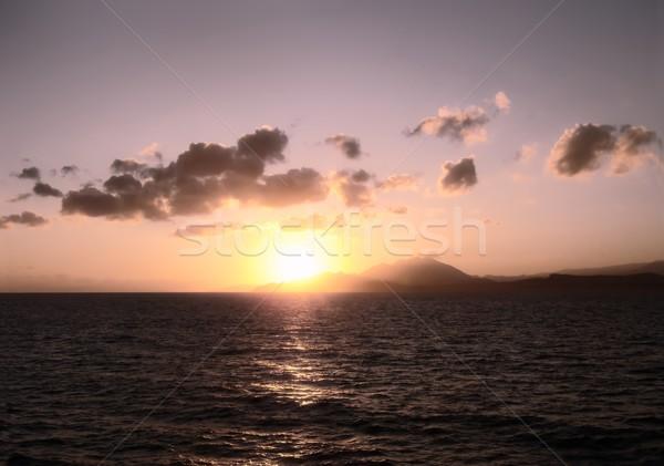 太陽 海 背景 夏 海 岩 ストックフォト © inoj