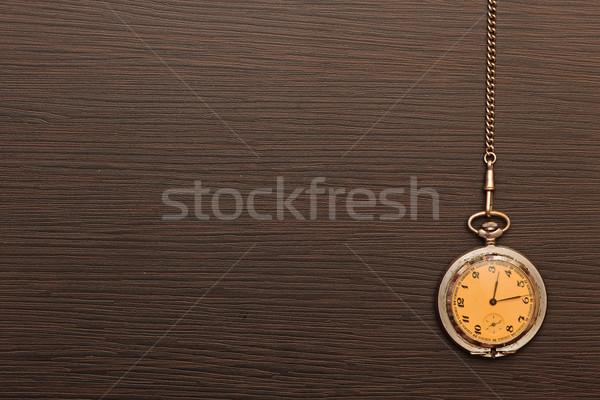 Foto stock: Foto · prata · vintage · relógio · de · bolso · cadeia