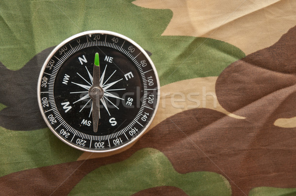 Kompas camouflage onderwijs groene reizen Stockfoto © inxti