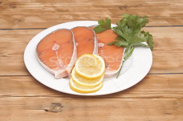 Yemek dilimleri somon ahşap masa gıda Stok fotoğraf © inxti