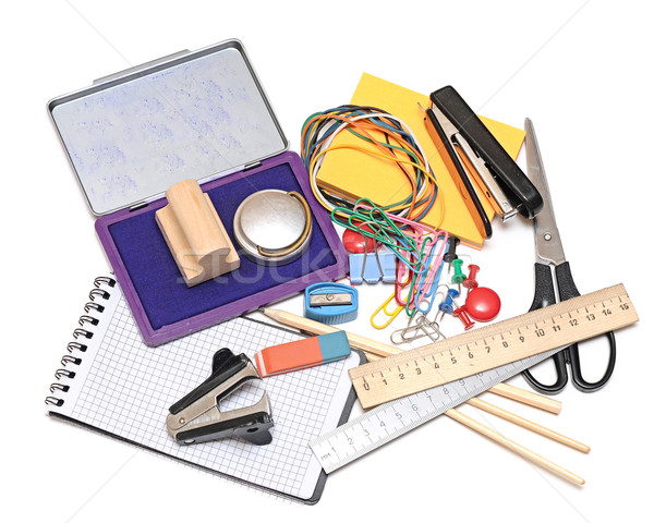 Stock photo: many office tools on white background