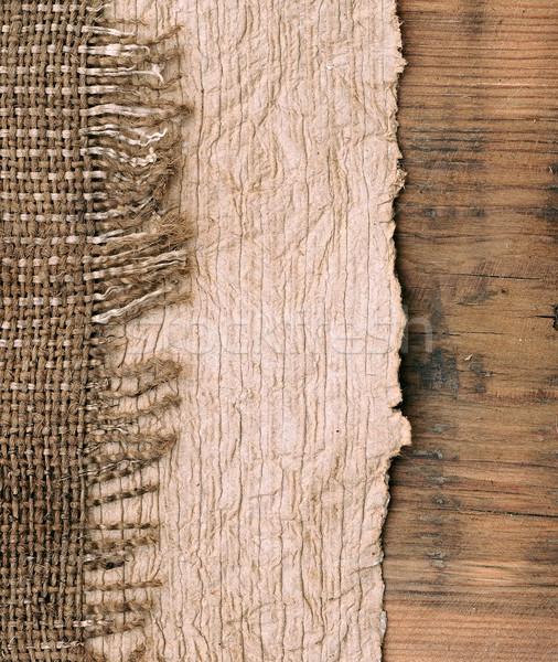 Vieux papier naturelles toile de jute bois texture fond Photo stock © inxti