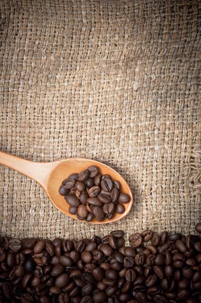 Pörkölt kávé föld kávé fakanál halom Stock fotó © inxti