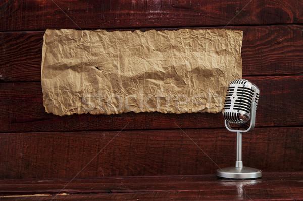 Retro mikrofon asztal üres papír űr szöveg Stock fotó © inxti