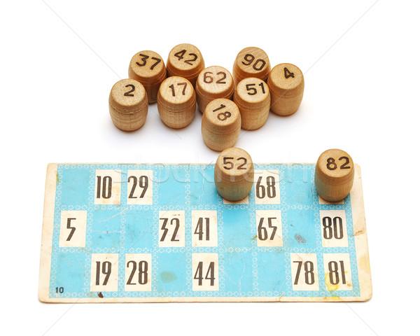 Oude bingo kaarten nummers witte papier Stockfoto © inxti