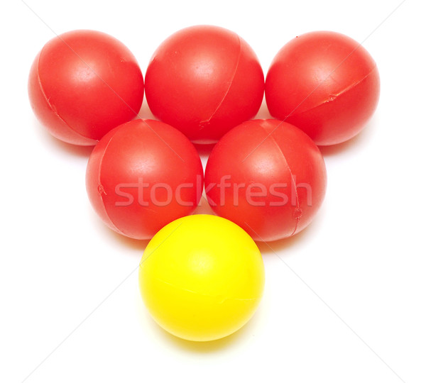red and yellow plastic balls from children's small town Stock photo © inxti