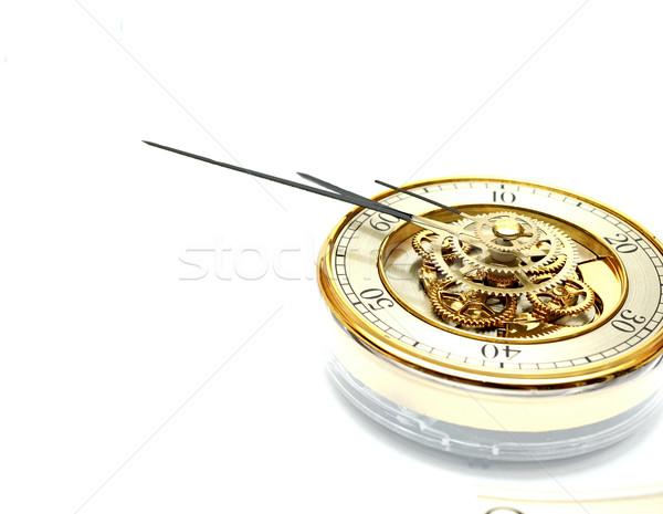 Arany óra sebességváltó fehér technológia háttér Stock fotó © inxti