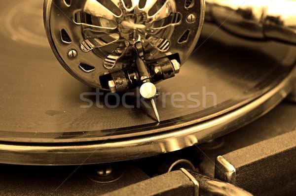 öreg gramofon lemezek művészet retro hang Stock fotó © inxti
