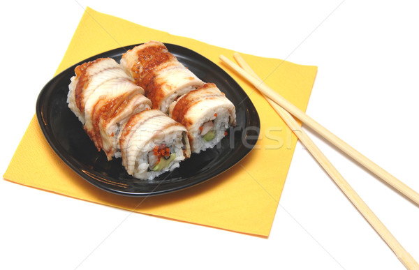 Sushis baguettes fruits de mer traditionnel plat Photo stock © inxti