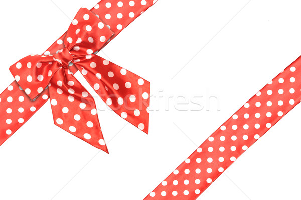 dotted red satin gift bow and ribbon isolated on white Stock photo © inxti