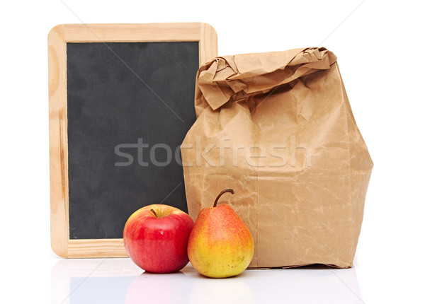 School lunch with fruit and black chalkboard ready for your text Stock photo © inxti