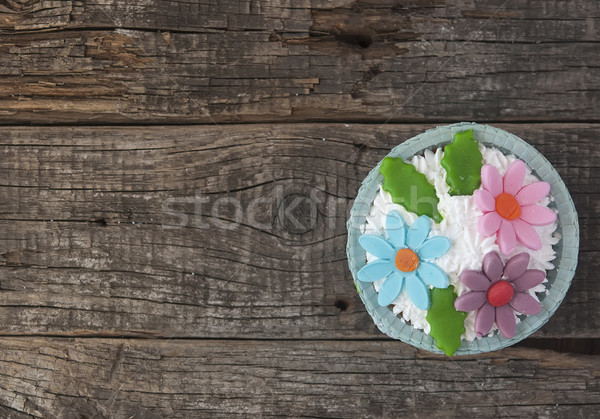 Mooie vintage houten voedsel cake Stockfoto © inxti